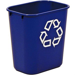 "Rect. recycling wastebasket 3.25 gal  blue 11 3 / 8""x8 1 / 4""x 2 1 / 8"" H"