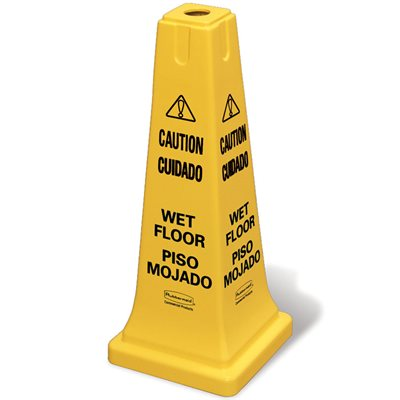 "Safety cone multi-lingual ""Caution Wet Floor"" yellow"